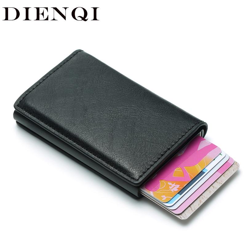 DIENQI Rfid titular de la tarjeta de los hombres carteras bolsa de dinero hombre Vintage negro corto bolso 2018 pequeñas Slim de Cuero billeteras, carteras magia