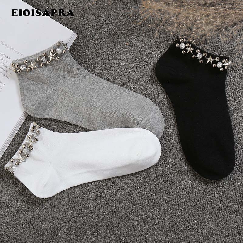 [EIOISAPRA]Handmade Japan Pearl Stars Fishnet   Socks   Women Creative Reto College Style   Socks   Harajuku Hollow Out Calcetines Mujer