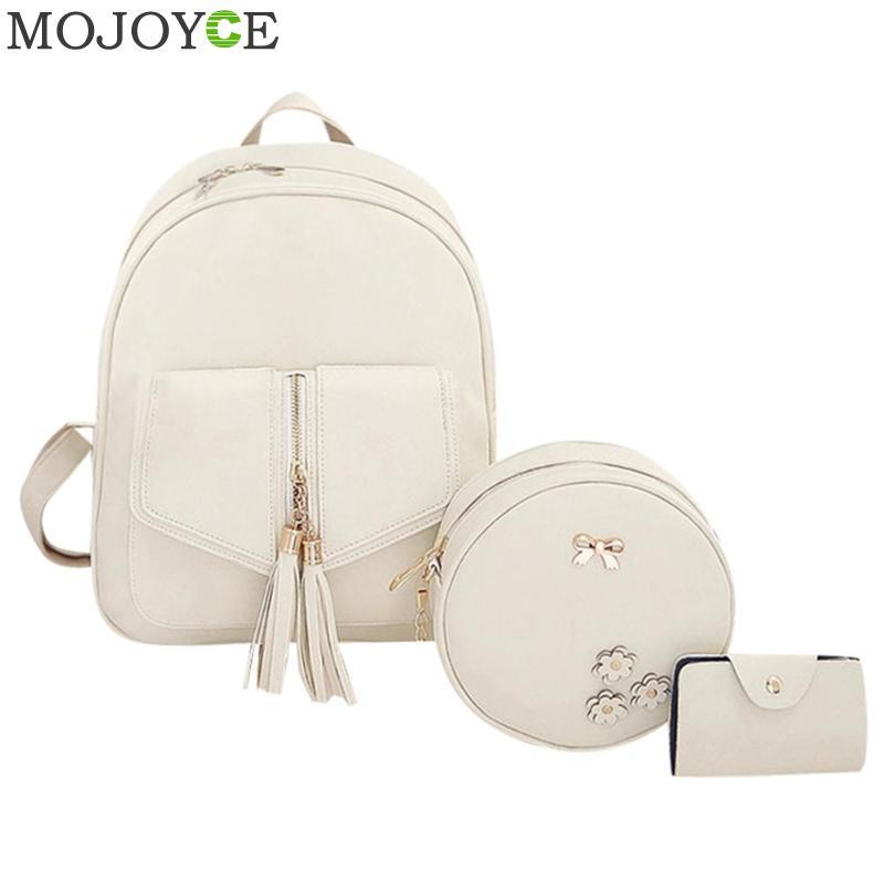 3pcs/Set Tassels Bowknot PU Leather Women Back Cute School Backpacks For Teenage Girls Female Tassels Shoulder Bag Purse Mochila
