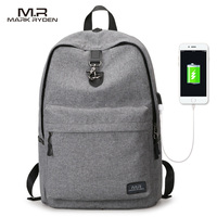 Markryden New Arrivals Four Colors USB Design Backpack Men Male Student Backpack Weekend Mochila