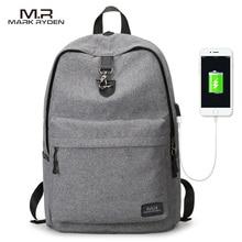 Mark Райден Новые поступления четыре Цвета USB дизайн рюкзак Для мужчин мужчина студент рюкзак выходные Mochila