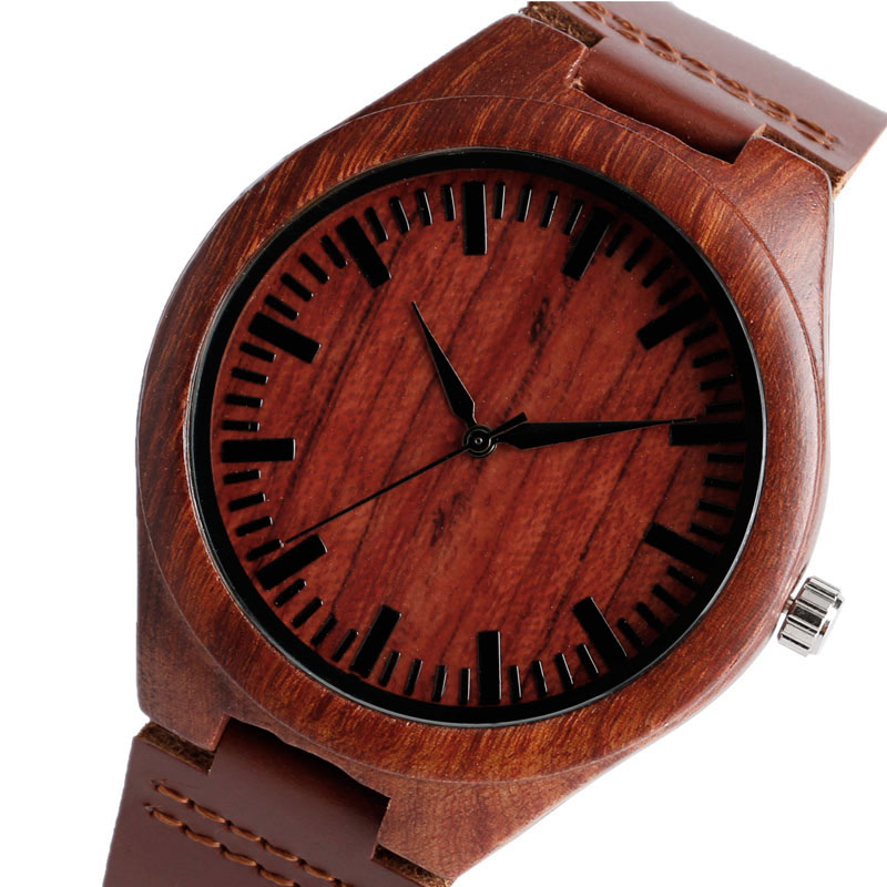 Classic Men Watches Red Vintage Modern Bamboo Wood Quartz Wristwatch with Genuine Leather Strap Male Casual Business Clock natural bamboo watch men casual watches male analog quartz soft genuine leather strap antique wood wristwatch gift reloje hombre