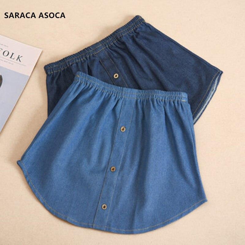 Fashion Denim Fake Skirt Hem Women All Match Spring Winter Jean Detachable Skirt Hem Lady