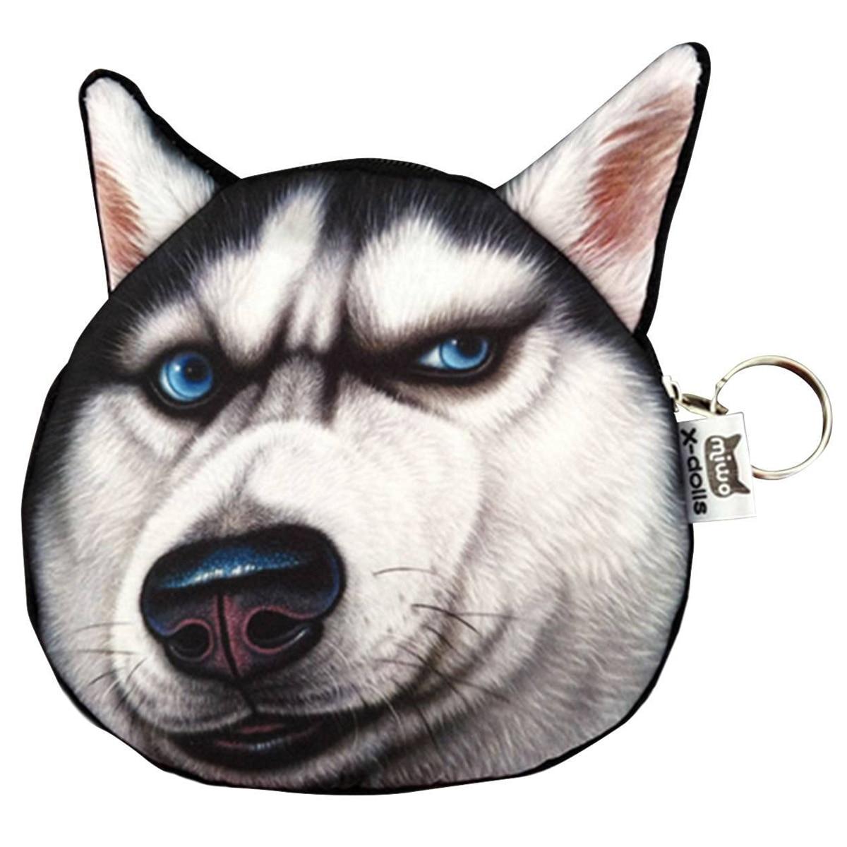 5) Cute Lovely 3D Dog Face Zipper Case Coin Girl Purse Wallet Makeup Bag Pouch Huskies