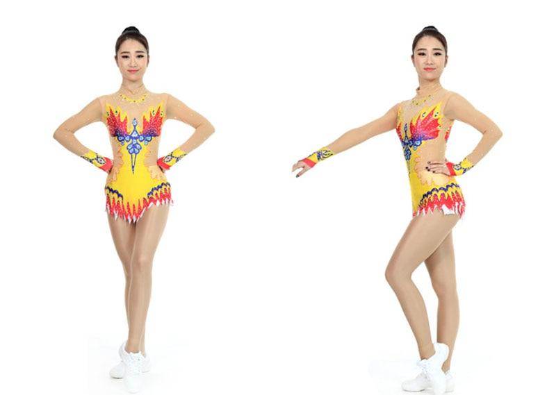 Custom Rhythmic Gymnastics Competion Girls Gymnastics Skating Dress Women Artistic Gymnastics Dresses Elasticity Spandex 1 piece