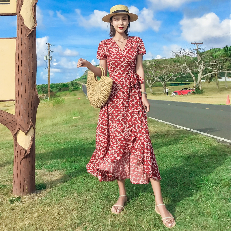 NEW Summer women Vacation casual Prairie Chic style Print V neck red colour Mid Calf Length Sashes lady A Line dress in Dresses from Women 39 s Clothing