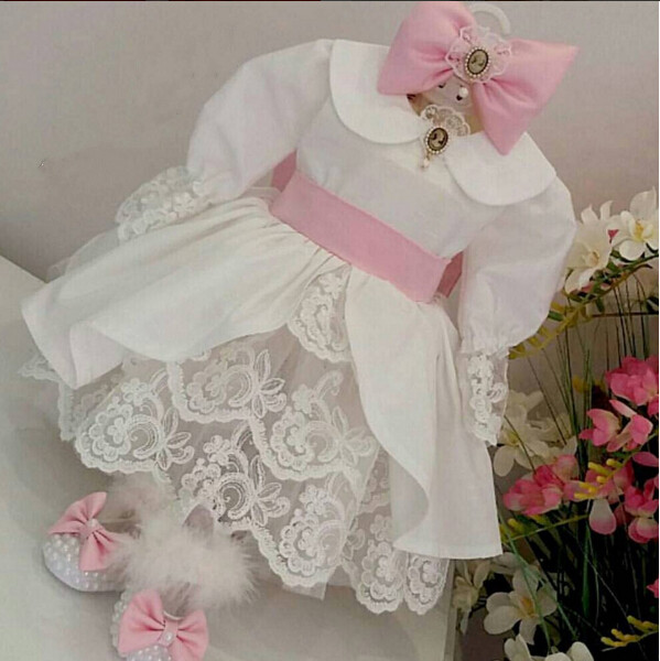New Ivory flower girl dresses with bow scoop tired lace long sleeves wedding birthday parties kids gowns new princess white ivory one shoulder lace flower girl dresses wedding birthday parties ball gowns