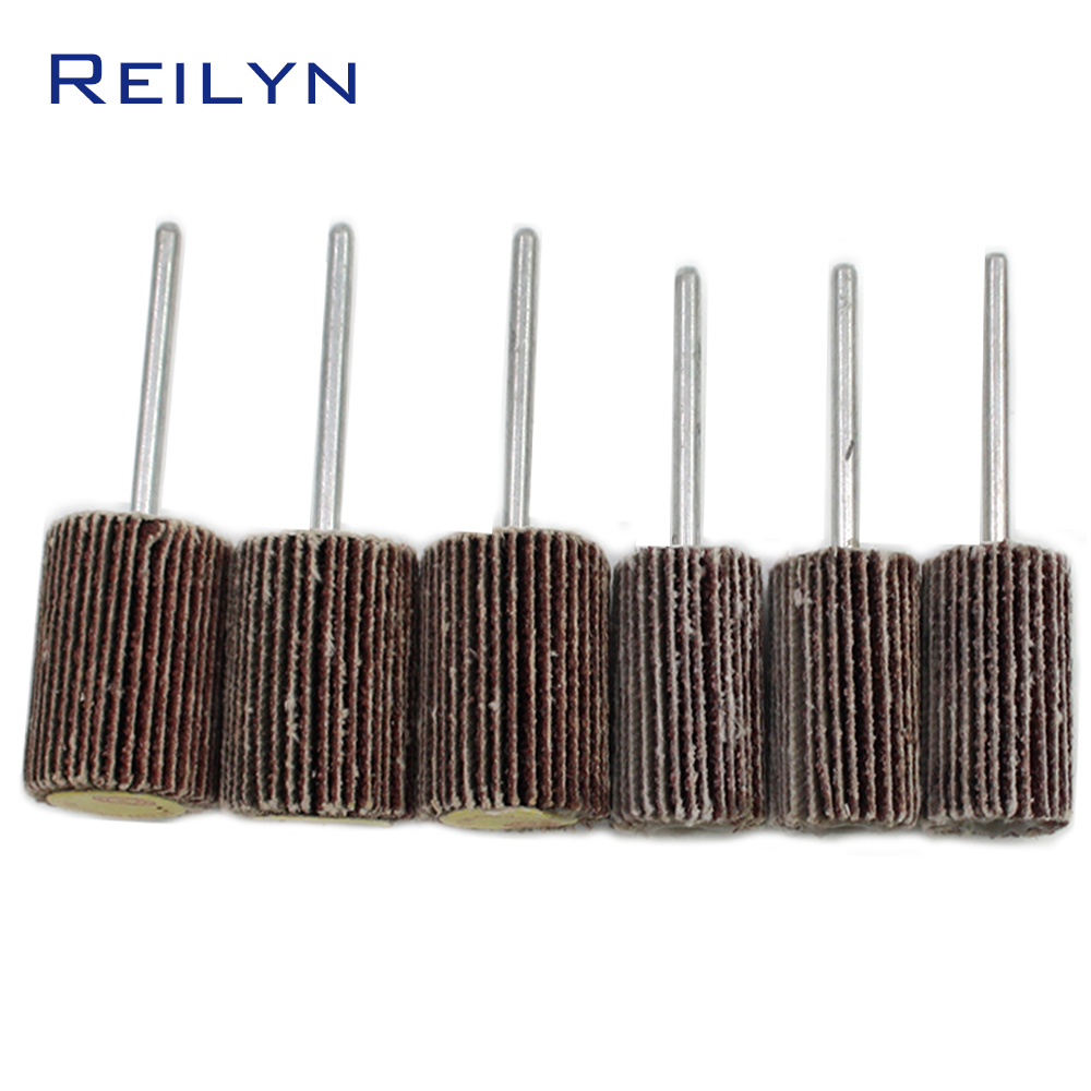 6pcs Abrasive Mops-wheel Spindle Mops Sand Paper Wheel Mounted Flap Wheels Grinding Bits Abrasive Block Polishing Wheel