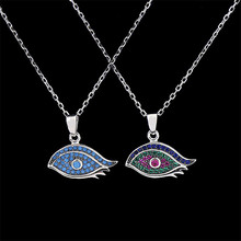NJ Brand 2017 Spot wholesale 925 sterling silver fashion Bohemia eyelashes inlaid zirconium natural stone necklaces & pendants