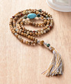 108 Beads Mala Necklace 6MM Picture Jasper Turquoise Long Tassel Necklace New Fashion Yoga Necklace Womens Funky Necklace