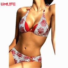 UMLIFE Red Floral Bikini Set 2017 Women's Sexy Bandeau Halter Swimsuit Multicolor Patchwork Flower Thong Bikini Bathing Suit