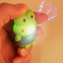 high quality green frog prince LED luminous key mobile phone pendant LED Flashlight creative gift for children wholesale