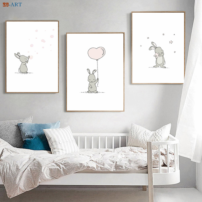 US $2.98 38% OFF|Bunny Nursery Wall Art Prints Cartoon Poster Minimalist  Canvas Painting Bedroom Decorative Picture for Girl Room Decor No Frame-in  ...