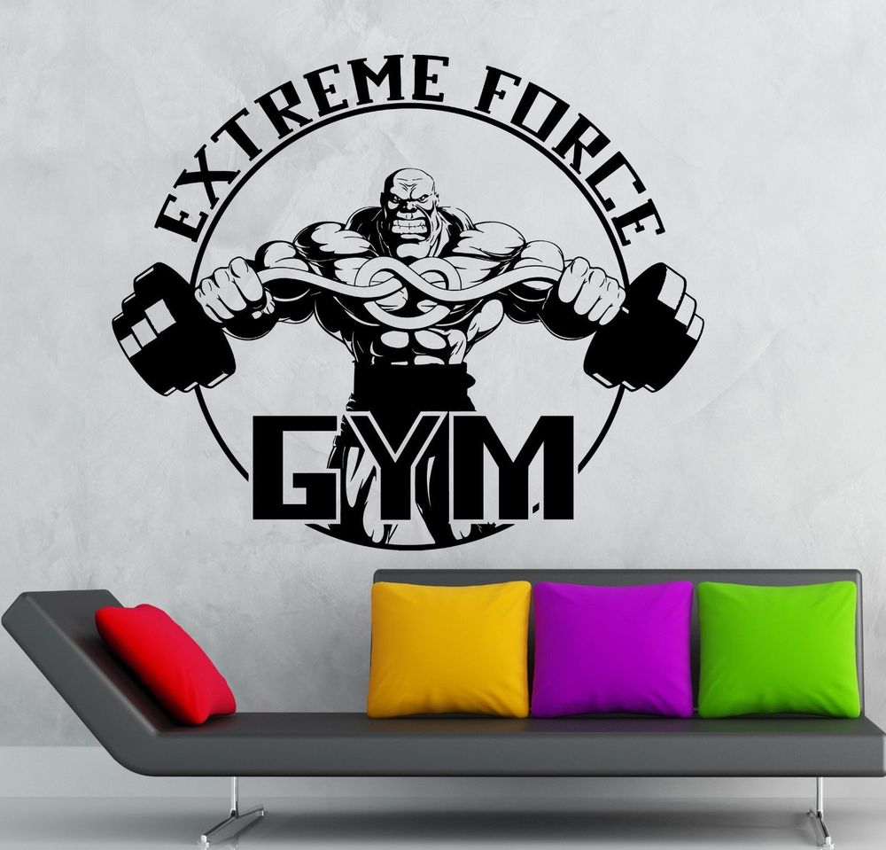 Sticker gym wall - Cool Gym Sport Fitness Decor Wall Sticker Vinyl Decal Gym Extreme Force Bodybuilding Fitness Sport In Wall Stickers From Home Garden On Aliexpress Com
