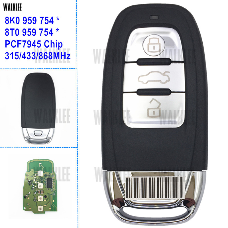 WALKLEE Smart Remote Key 315MHz/433MHz/868Mhz Suit for Audi 8T0 959 754 * / 8K0 959 754 * for A4/S4/A5/S5/Q5 2007-2016 remtekey smart car remote key for audi a4 a5 a6 s4 s5 q5 sq5 8t0 959 754c 868mhz 8t0959754c 2007 2008 2009 2010 2011 2012 2013