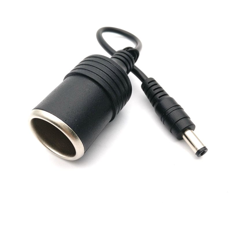 цена на High Quality 12V Female Car Cigarette Lighter Socket Plug Connector Charger Cable Adapter DC 5.5 * 2.1mm 5A Amper