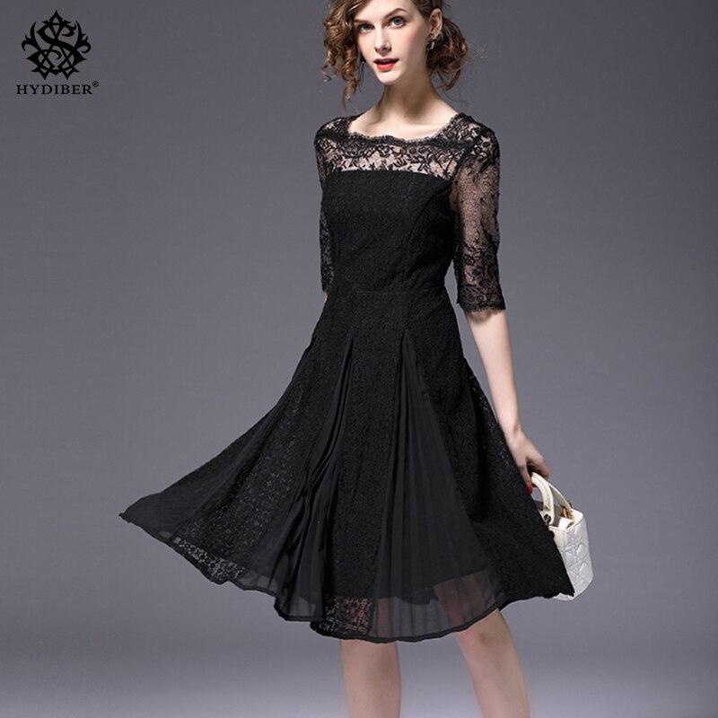 2018 black elegant women party dresses embroidery lace