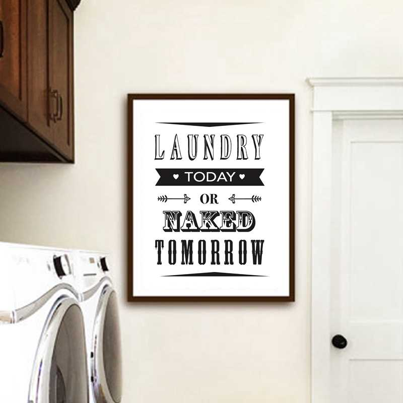 Modern Minimalist Laundry Room Canvas Painting Fresh And Clean Sign Wall Art Posters Prints For Living