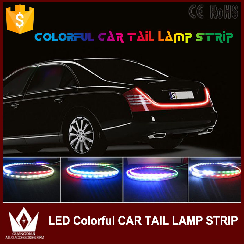 RGB Universal flowing LED Rear <font><b>Tail</b></font> Brake Stop Marker Light Flexible Reverse/stop Strip Light for toyota prius camry corolla