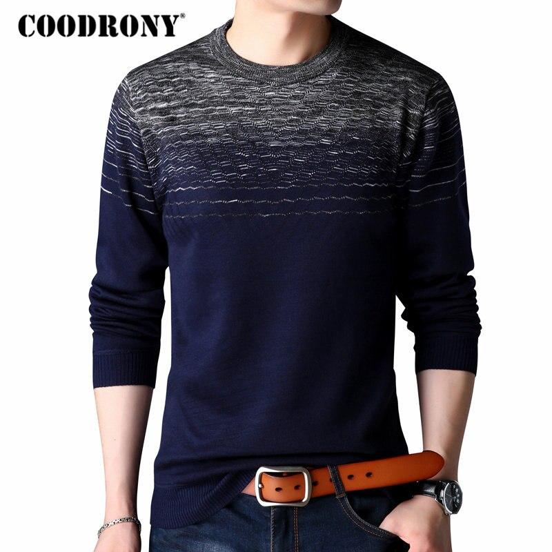 COODRONY Casual o-Cuello suéter de los hombres ropa de marca 2018 otoño nueva llegada Para Homme Jersey de punto de los hombres camisas de manga larga 8172