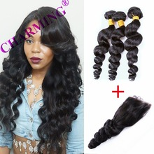 Charming Malaysia Loose Wave 2 Bundles With Closure Grade 8A 100% Unprocessed Virgin Hair Human Hair Bundles Hair