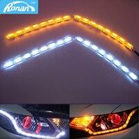 16SMD LED Headlight Flexible Strip Light White Amber Tear Eye Turn Switchback Lamp Daytime Running Light