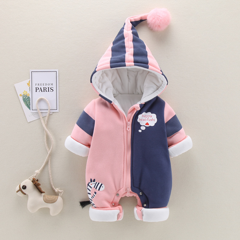 Winter Baby Girl Romper Infant Baby Rompers Long Sleeve Cartoon Hooded Baby Jumpsuit Overalls Thick Warm Newborn Boys Clothing цена 2017