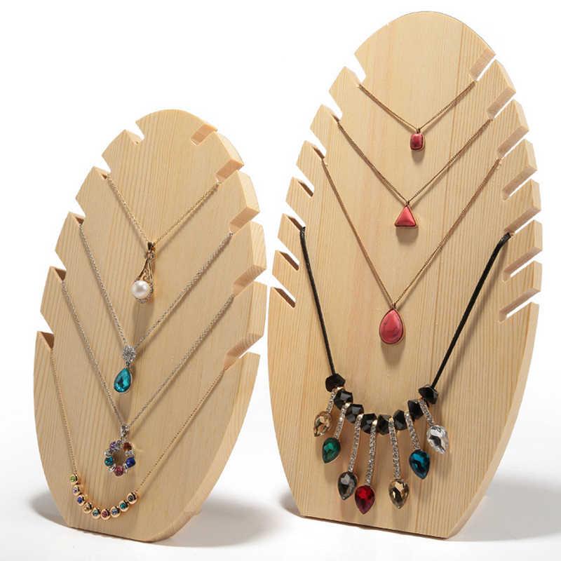 Neue Design Holz Halskette Display Halter Schmuck Display Stand Schaufenster Halskette Ständer Storage Große und Kleine Größe