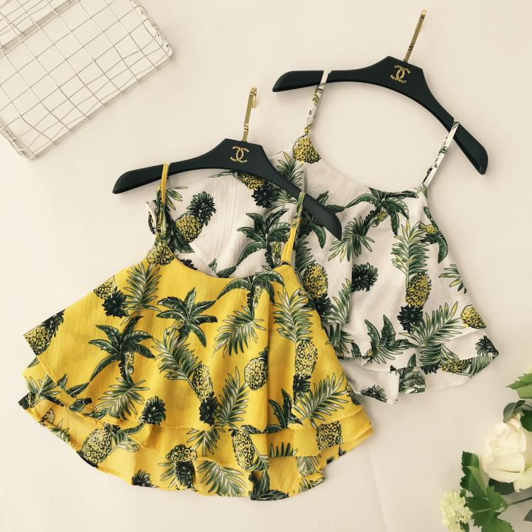 Femmes Sexy bretelles Camis ananas imprimé Satin lotus feuille réservoir hauts col en V doux été 2018 mignon réservoir femme blouses Camisole