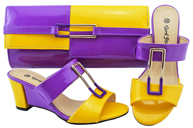 Newest Style Purple+Yellow color matching Italian shoes with bag High quality Africa Style Ladies Shoes And Bag Set For party 2017 hot selling ladies slipper shoes and bag set for party africa style summer high heels shoes and bag set fuchsia bch 17