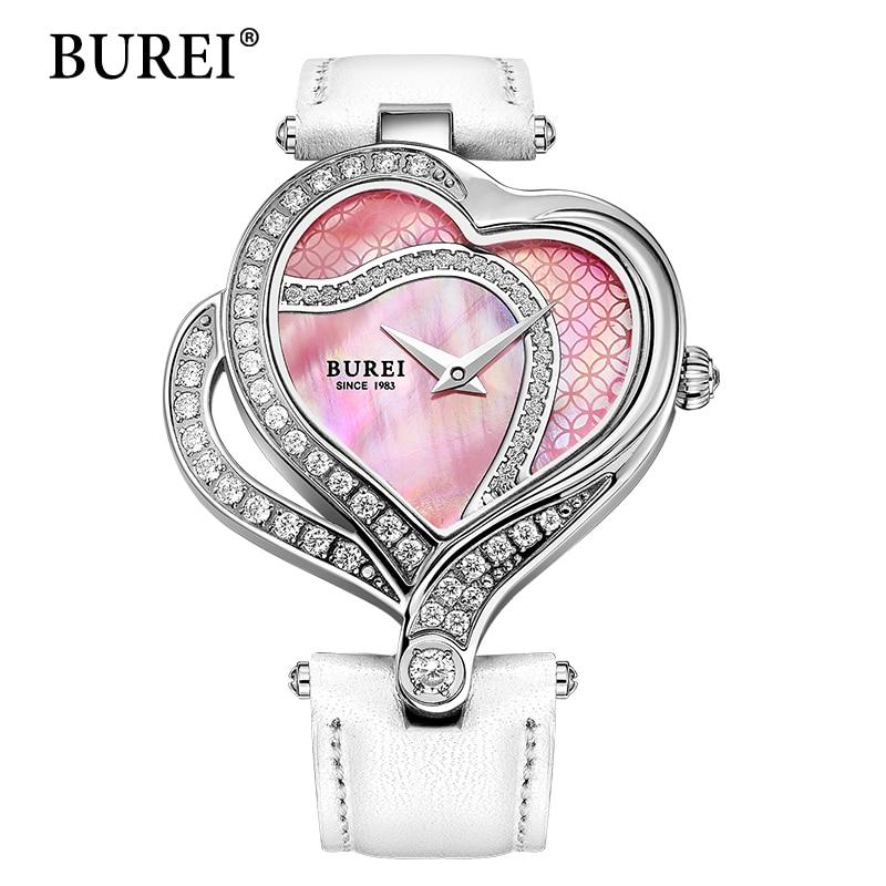 BUREI Women Watch Original New Heart Shape Design White Lens Clock Fashion Casual Female Dress Pocket Wristwatches Hot Sale burei fashion dual heart shaped women quartz watch