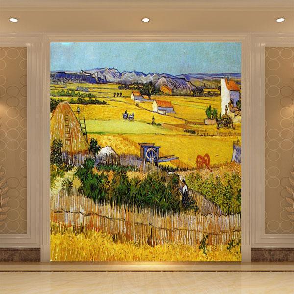 Van Gogh Harvest Mural Art Glass Mosaic Tile, bathroom restaurant ...