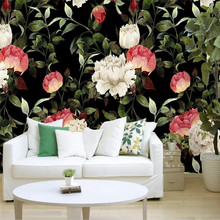 3d wallpaper HD hand-painted watercolor black background red flower wall professional custom mural
