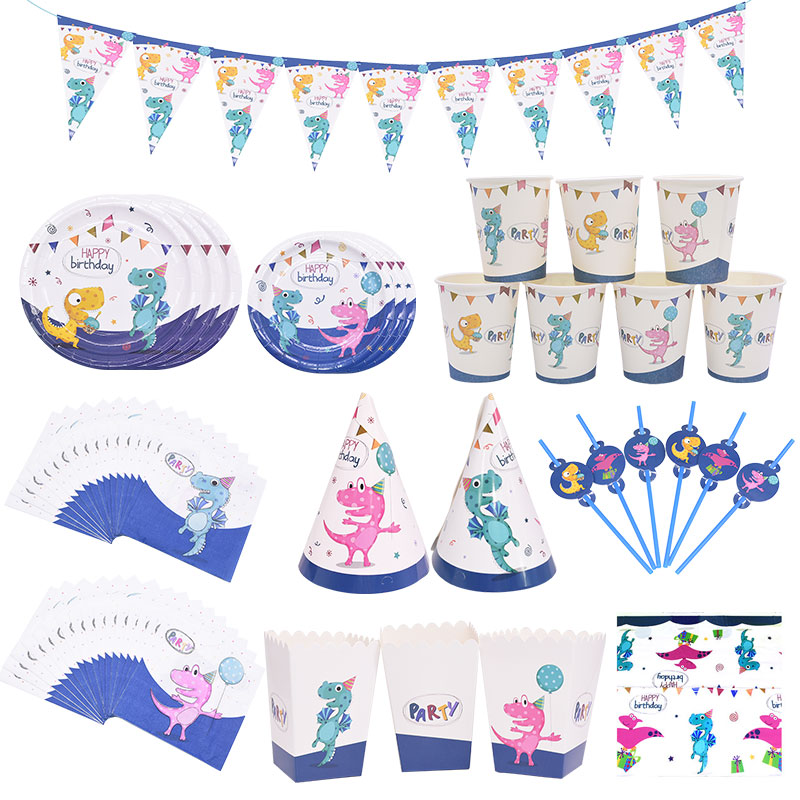 Theme Dinosaur Party Decoration Kids Birthday Party Tableware Set Tablecloth Cpus Plates Napkin Straw Popcorn Box Party Supplies image