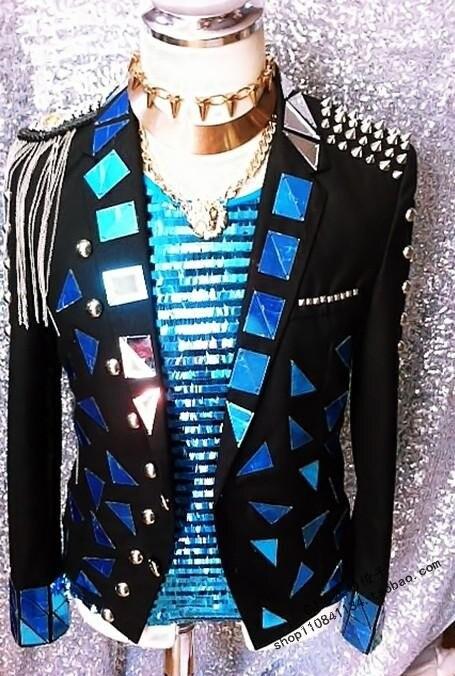 nueva styly masculino espejo lente chaqueta charretera remache borlas etapa mostrar disfraces discoteca dj cantante chaqueta
