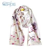 Luxrious Long Silk Scarf Fashion Lady Scarves Flower Pashmina Cool Feeling Prunus Mume All Season Match