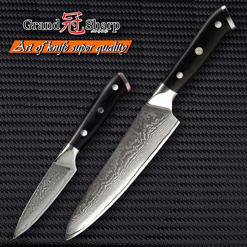 Ev ve Bahçe'ten Bıçak Setleri'de Şam Çelik Mutfak Bıçağı Seti 2 Adet Gyuto Şef Soyma Bıçağı vg10 Japon Şam Çelik Mutfak Bıçakları Pişirme Aracı G10 kolu'da  Grup 1