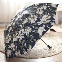 Vintage Lily Floral Women Rain Umbrella Chic Pink Rose Three Folding Girl Durable Portable Umbrellas Automatic Rain Gear