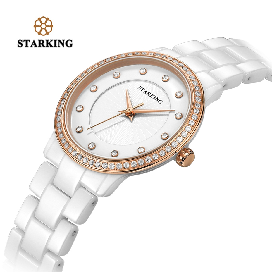 STARKING Women Clock Quartz Watch Chic Ceramic Bracelet Charms Ladies Wristwatch Geneva Rose Gold Rhinestone Watch Montre Femme