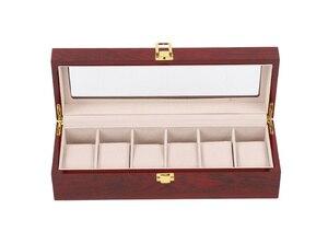 Image 4 - 새로운 나무 시계 디스플레이 박스 케이스 라이트 레드 나무 시계 주최자 홀더 창 스토리지 보석 선물 상자