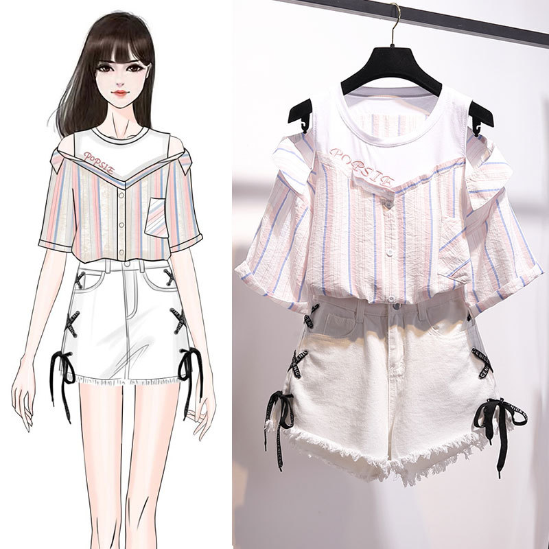 ICHOIX 2 pieces shorts sets summer Sweet Korean off shoulder tops and shorts 2 pieces sets women clothing two pieces outfits