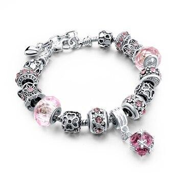 Women's Tibetan Silver Charm Bracelet Bracelets Jewelry Women Jewelry Metal Color: 306 pink