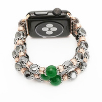 Fashion Women Wrist Watch Link Bracelet Band For Apple Watch 38 42mm Agate Crystal Beads With