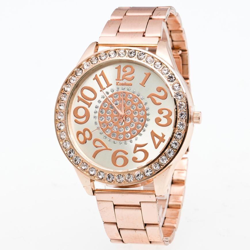Luxury Brand Big Dial Clock Men Women Watch Rose Gold Stainless Steel Band Rhinestone Quartz Wristwatch Business Watch Z20