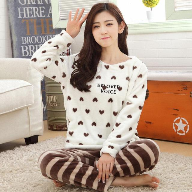 6415c4abcc Autumn Winter Women Cute Pyjamas Sets Coral Velvet Suit Flannel Cartoon  Bear Animal Pants Thick Warm