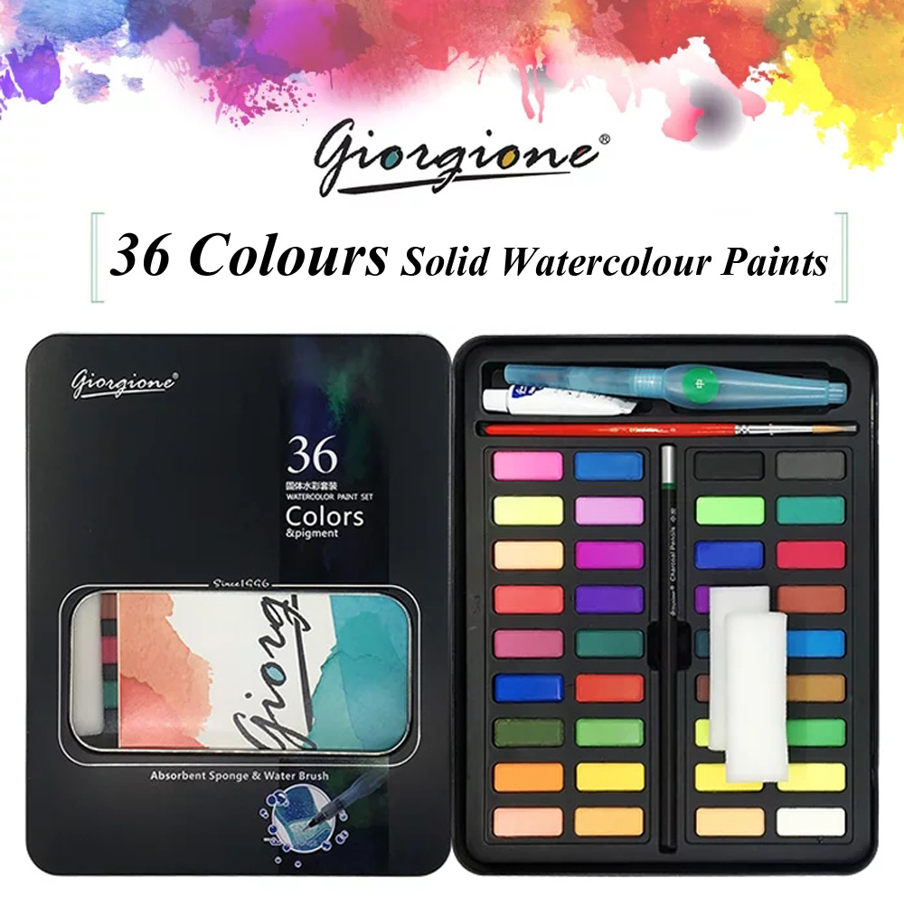 36 Colors Travel Solid Water Color Paints Outdoor Watercolor Fundamentals Painting With Paintbrush Bright Colors Art Set van gogh 24 colors solid watercolor pigment with nature sponge and paintbrush plastic case water color paint art supplies