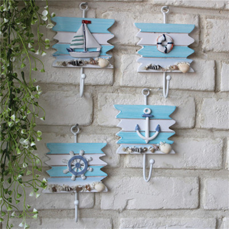 4Piece Set Wooden Nautical Wall Hanging Coat Hook Conch Home Hanging Crafts Fashion Home Decoration Mediterranean Style