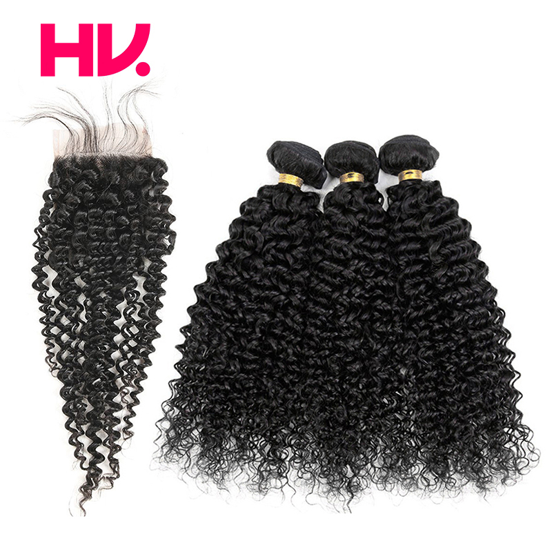 Pre Colored bundles with closure Kinky Curly #1B Non remy Brazilian bundles with closure-in 3/4 Bundles with Closure from Hair Extensions & Wigs    1