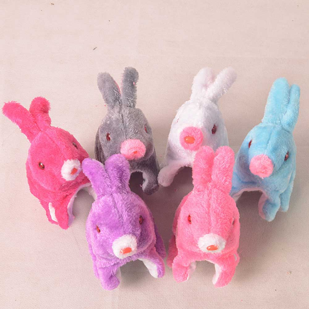 Electronic Rabbit Robot Rabbit Toys Plush Pet Animal Toy Jumping With LED Eyes Cute Toys For Children Birthday Gifts