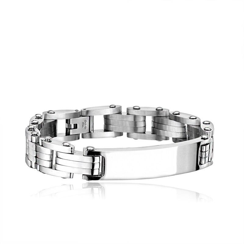 Personality Men Bracelet Stoving Varnish Concise Box Chain Fashion Jewelry Titanium Steel Punk Bracelets For Men BR-C010